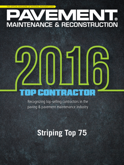 Accurate Pavement Striping named Top Contractor in 2016