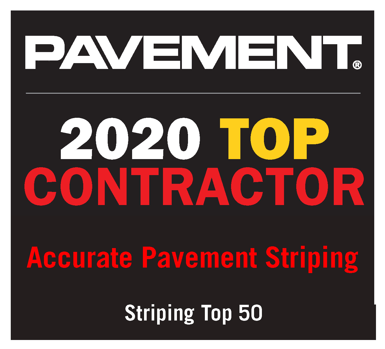 Accurate Pavement Striping named Top Contractor in 2020